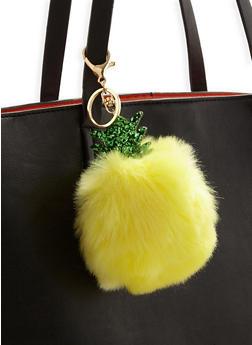 Pineapple Pom Pom Keychain - 3163067448009