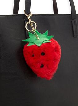 Strawberry Pom Pom Keychain - 3163067448010