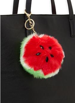 Watermelon Pom Pom Keychain - 3163067448011