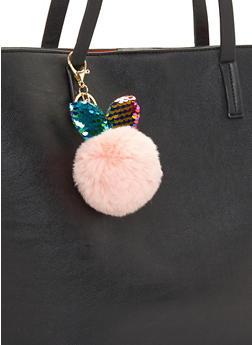 Sequin Bunny Ear Pom Pom Keychain - 3163067448013
