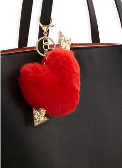 Pom Pom Heart and Arrow Keychain - 3163067448014