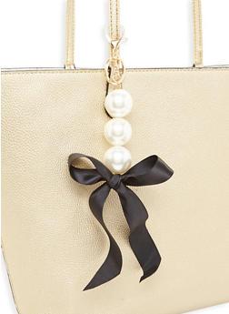 Faux Pearl Ribbon Keychain - 3163067448015