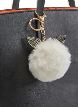 Rhinestone Bunny Ear Pom Pom Keychain - 3163074390479