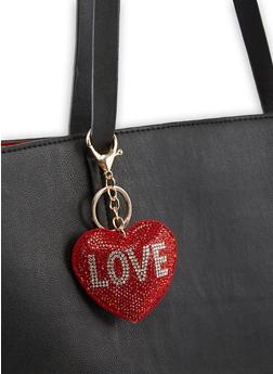Heart Rhinestone Love Keychain - 3163074390583