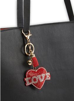 Rhinestone Love Heart Keychain - 3163074390584
