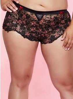 Plus Size Scalloped Floral Lace Boyshort Panty - 3168035160780