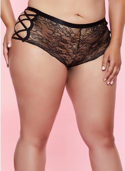 Plus Size Caged Side Lace Cheeky Boyshort Panty - 3168035160781
