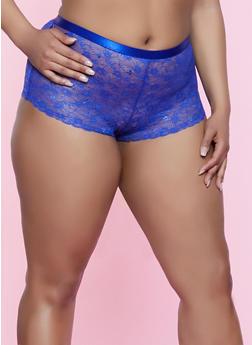 Plus Size Caged Detail Boyshort Panty - 3168035161768
