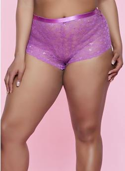 Plus Size Mesh Detail Lace Boyshort Panty - 3168035162768