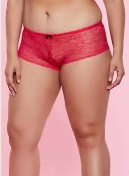 Plus Size Lace Up Back Boyshort Panty | Red - 3168064870006