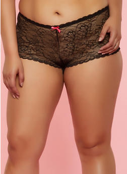 Plus Size Bow Lace Up Boyshort Panty - 3168064870007