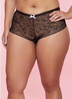 Plus Size Lace Caged Keyhole Boyshort Panty - 3168064872406