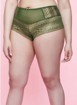 Plus Size Mesh Insert Lace Boyshort Panty | 3168064872894 - 3168064872894