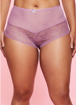 Plus Size Floral Lace and Mesh Boyshort Panty - 3168064873172