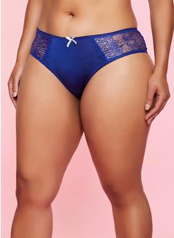 Plus Size Lace Back Bikini Panty - 3168064873423