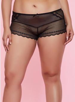 Plus Size Scalloped Detail Lace Boyshort Panty - 3168064874248