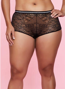 Plus Size Lurex Trim Boyshort Panty - 3168064874978