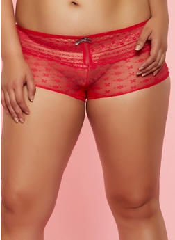 Plus Size Patterned Lace Boyshort Panty | Red - 3168064878562