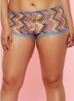Plus Size Printed Boyshort Panty - 3168068063520
