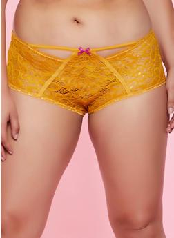 Plus Size Lace Keyhole Boyshort Panty - 3168068064040