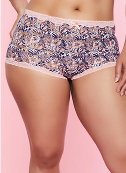 0cd0c1c3bca7 Plus Size Printed Mesh Caged Back Boyshort Panty - 3168068064225