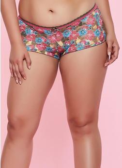 Plus Size Floral Lace Caged Back Boyshort Panty - 3168068064228