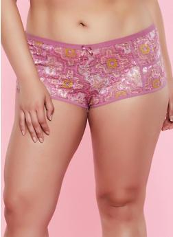 Plus Size Geometric Lace Boyshort Panty - 3168068064244