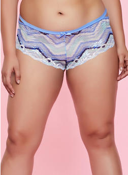 Plus Size Printed Lace Cut Out Panty - 3168068064303