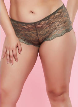 Plus Size Cut Out Back Lace Boyshort Panty - 3168068064826