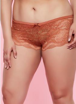 Plus Size Lace Boyshort Panty | Bronze - 3168068065043