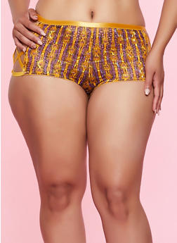 Plus Size Caged Printed Lace Boyshort Panty - 3168068065097