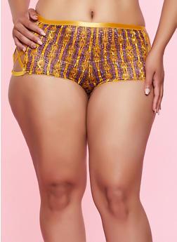 Plus Size Caged Striped Lace Boyshort Panty - 3168068065097