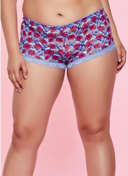 Plus Size Floral Lace Boyshort Panty | 3168068065212 - 3168068065212