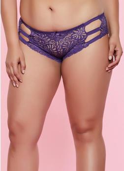 Plus Size Patterned Lace Caged Boyshort Panty - 3168068069244