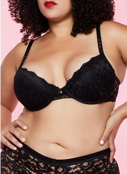 Plus Size Patterned Lace Padded Bra | 3169035160777 - 3169035160777