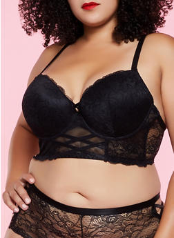 Plus Size Patterned Lace Caged Longline Bra - 3169035160781