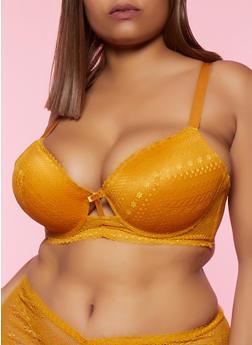 Plus Size Keyhole Lace Plunge Bra - 3169064873187