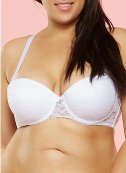 Plus Size Lace Balconette Bra - 3169064878301
