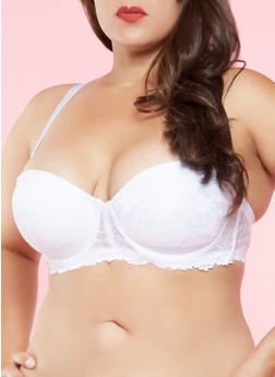 Plus Size White Balconette Bra - 3169064878436