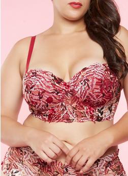 Plus Size Printed Lace Longline Bra - 3169068060041