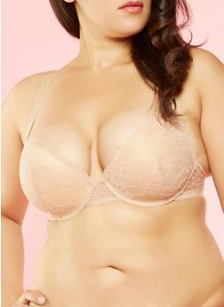 Plus Size Lace Padded Bra - 3169068060065