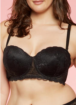 Plus Size Lace Balconette Bra - 3169068063744