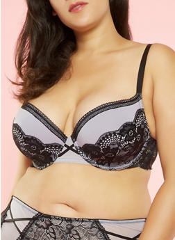 Plus Size Lace Trim Padded Bra - 3169068063929