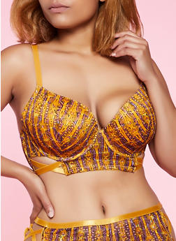 Plus Size Caged Longline Printed Bra - 3169068065097