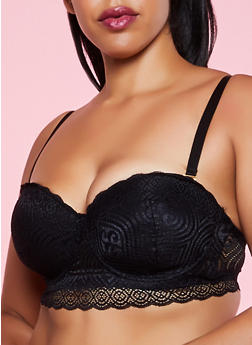 Plus Size Balconette Padded Lace Bra | Converts to Strapless - 3169068065214