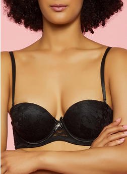 Lurex Bow Black Lace Balconette Bra | Converts to Strapless - 3175064871112