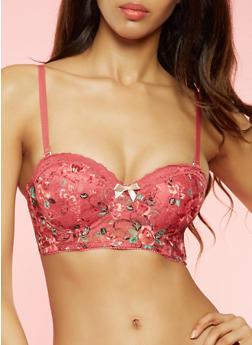 Floral Longline Lace Push Up Balconette Bra - 3175064871521