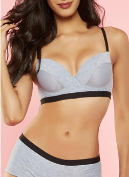 Fishnet Detail Longline Push Up Bra - 3175068062025