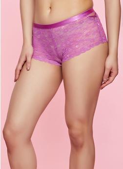 Caged Mesh Detail Boyshort Panty | Fuchsia - 3176035161764