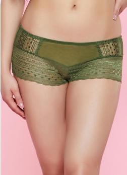Mesh Insert Lace Boyshort Panty - 3176064872894